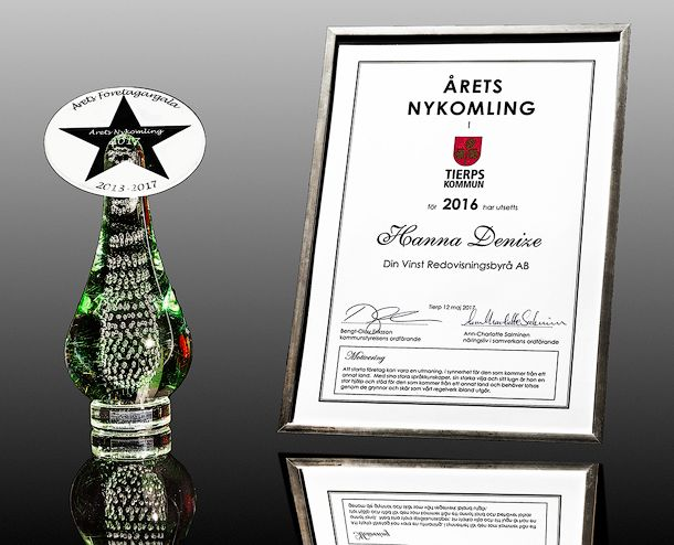 Trophy and certificate without logo